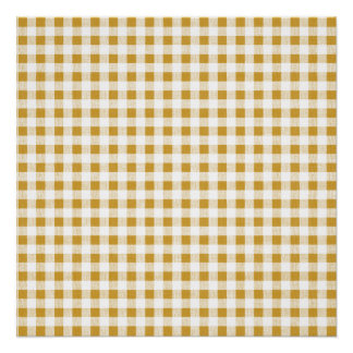 Goldweißes Gingham-Muster Poster