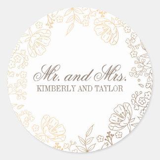 Goldweißes Vintages Hochzeits-mit Blumenmonogramm Runder Aufkleber
