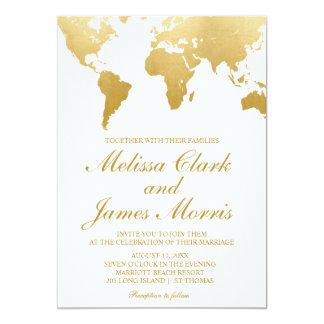 GoldWeltkarte der Reise-Hochzeits-Einladungs-| Karte