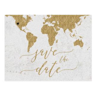 Goldweltkarten-Hochzeit in Urlaubsort retten das Postkarte