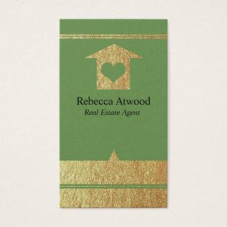 Goldwirkliches Anwesen-Agent-Geschäfts-Karten-Grün Visitenkarte