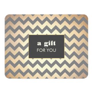 GoldZickzack Muster-Salon u. 10,8 X 14 Cm Einladungskarte