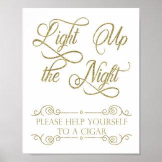 Goldzigarren-Bar-Zeichen - leuchten Sie der Nacht Poster