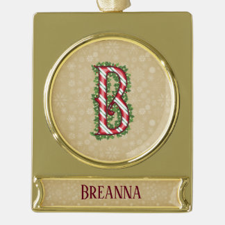 Goldzuckerstange-gestreifter Buchstabe B Banner-Ornament Gold