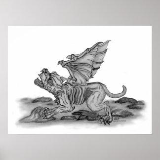Golem - Gargoyle schwarz-weiß design Poster
