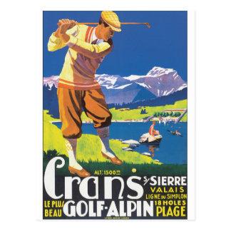 Golf Alpin Vintages Reise-Plakat Postkarte