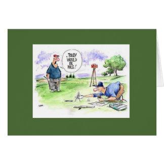 Golf-Cartoon-Grußkarte: Heutiger Tag würde nett Karte