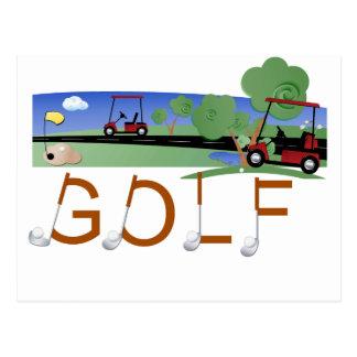 Golf mit Golfmobil-T-Shirts und Geschenken Postkarte