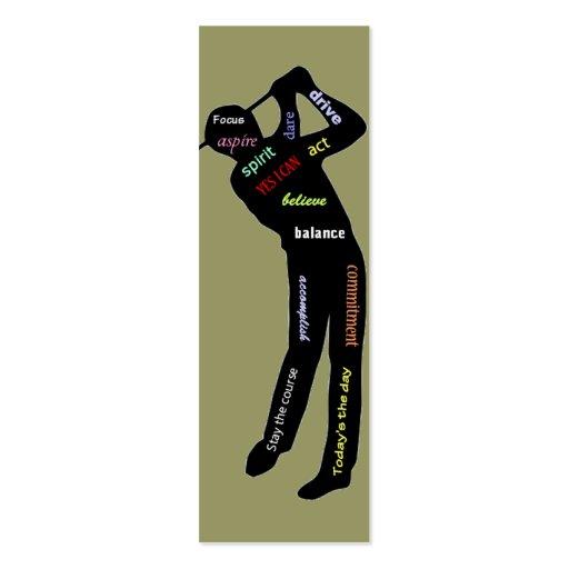 Golf-motivierend Wörter, Sport-Lesezeichen Visitenkartenvorlage