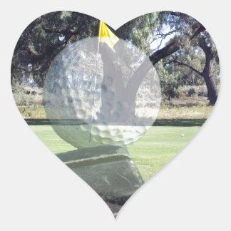 Golf-Putter, der Golfball ausrichtet, Herz-Aufkleber
