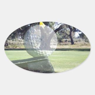 Golf-Putter, der Golfball ausrichtet, Ovaler Aufkleber