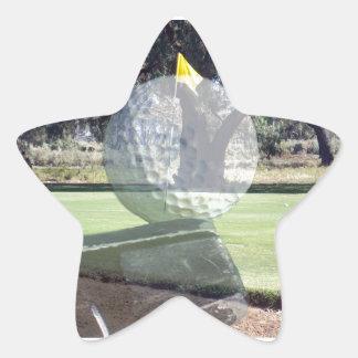 Golf-Putter, der Golfball ausrichtet, Stern-Aufkleber