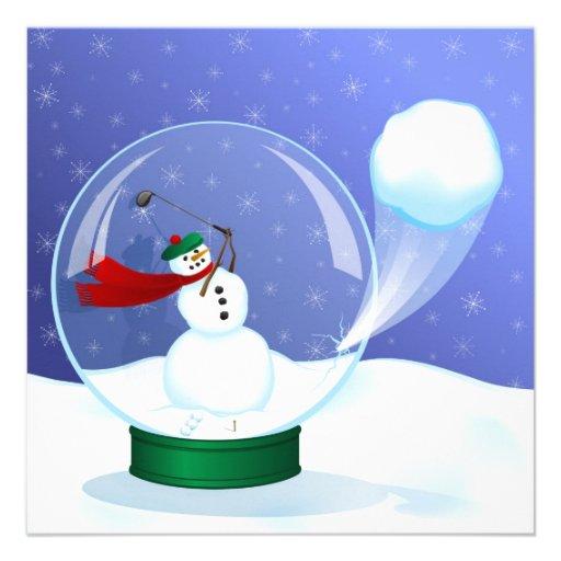 Golf-Schneemann-Schnee-Kugel-Einladungen
