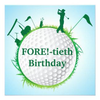Golf spielende 40 der Geburtstags-Einladung der