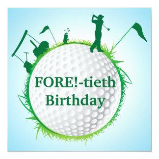 Golf spielende 40. der Geburtstags-Einladung der Quadratische 13,3 Cm Einladungskarte