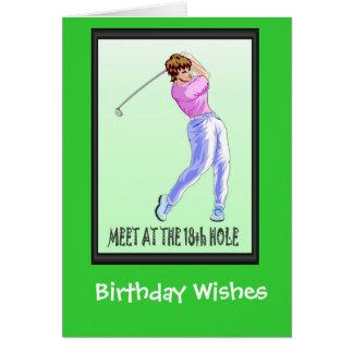 Golf spielende Geburtstagskarten, Damenspieler Karte