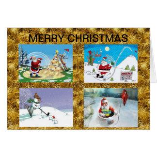 Golf spielende Sankt-Weihnachtskarte Karte