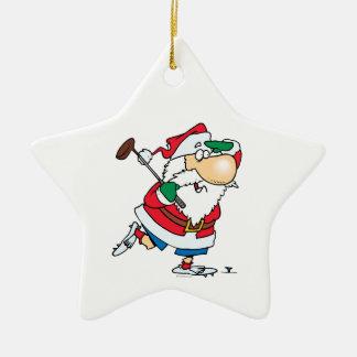 Golf spielender Golfspieler Weihnachtsmann des Keramik Stern-Ornament