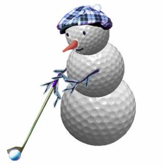 Golf spielendes Schneemannweihnachten Fotoskulptur Ornament