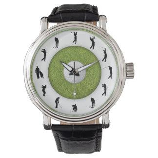 Golf-Spieler-Golfspieler-Gras-Entwurfs-Uhr Armbanduhr