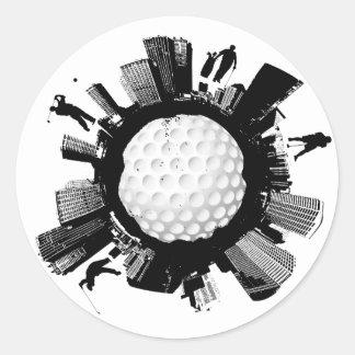 Golf-Stadt Runder Aufkleber