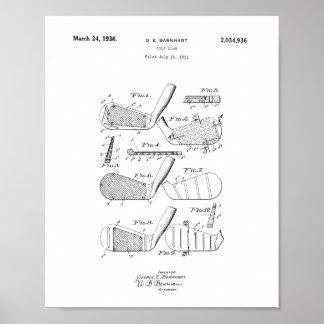 Golf-Verein-Patent-Plakat, Vintager Poster