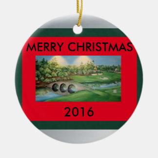 Golf-Weihnachtsverzierung Rundes Keramik Ornament