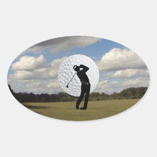 Golf-Welt Ovaler Aufkleber