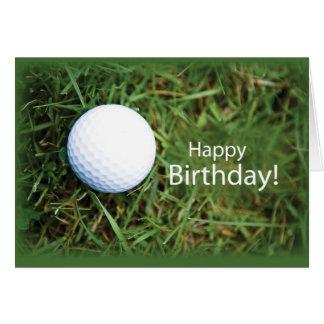 Golfball 2728 im Gras-Geburtstag Grußkarte