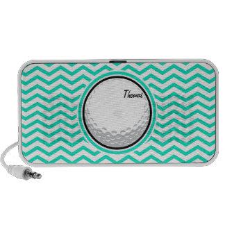 Golfball Aqua-grünes Zickzack iPod Speaker