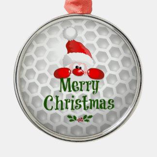 Golfball-Feiertags-Entwurf, frohe Weihnachten Rundes Silberfarbenes Ornament