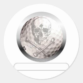 Golfball-Totenkopf mit gekreuzter Knochen Runder Aufkleber