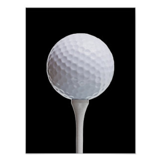 Golfball u. T-Stück auf Schwarzem - Poster