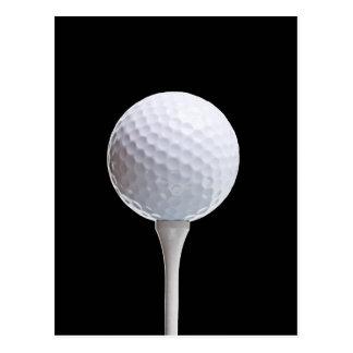 Golfball und T-Stück auf Schwarzem besonders Postkarten