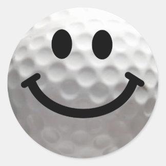 Golfballsmiley Runder Aufkleber