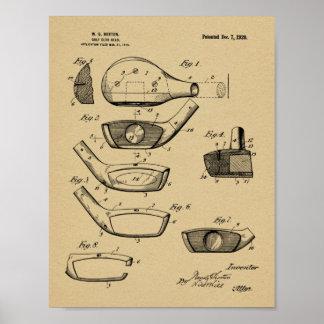 Golfclub-Kopf-Geschmacksmuster-Kunst-Druck 1920 Poster