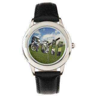 Golfplatz-Logo, Kinderschwarze lederne Uhr