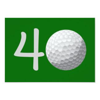 Golfspieler-Golf-Golf spielende 40. 12,7 X 17,8 Cm Einladungskarte