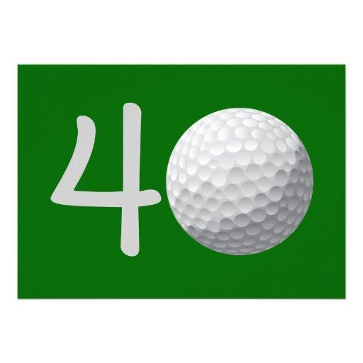 Golfspieler-Golf-Golf spielende 40. Personalisierte Einladung