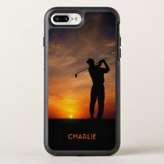 Golfspieler-Sonnenuntergang-Name-Telefon-Hüllen OtterBox Symmetry iPhone 8 Plus/7 Plus Hülle