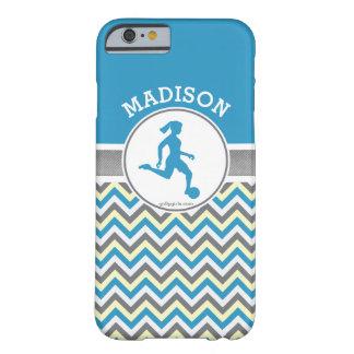Golly Mädchen-blauer Zickzack Streifen-Fußball mit Barely There iPhone 6 Hülle