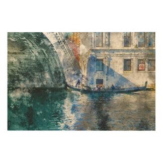 Gondel im Canal Grande von Venedig Italien Holzdruck