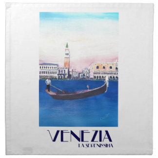Gondel Venedigs Italien auf Canal Grande mit San Serviette