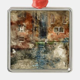 Gondel Venedigs Italien in den Kanälen Quadratisches Silberfarbenes Ornament