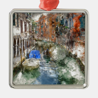 Gondel Venedigs Italien Silbernes Ornament