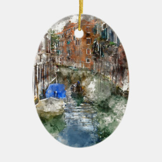 Gondeln Venedigs Italien und bunte Gebäude Keramik Ornament