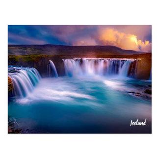 Gooafoss Island Wasserfall-Postkarte Postkarte
