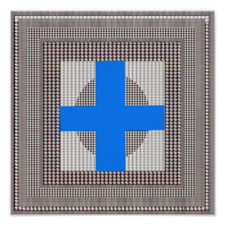 Goodluck Grafik-Perlen-Scheinblauer Querspaß Poster