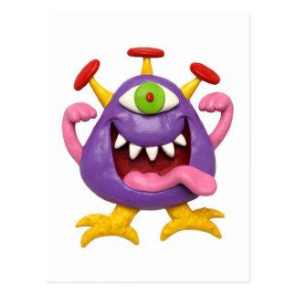 Goofy lila Monster Postkarte
