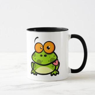 goofy niedlicher Frosch, der heraus Zunge haftet Tasse